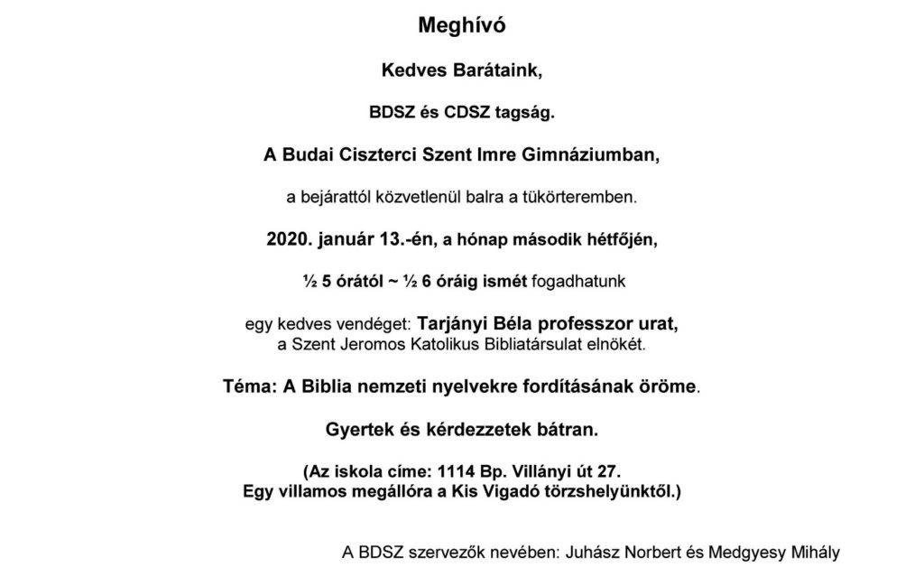 Prof. Tarjányi Béla előadása – 2020. január 13.