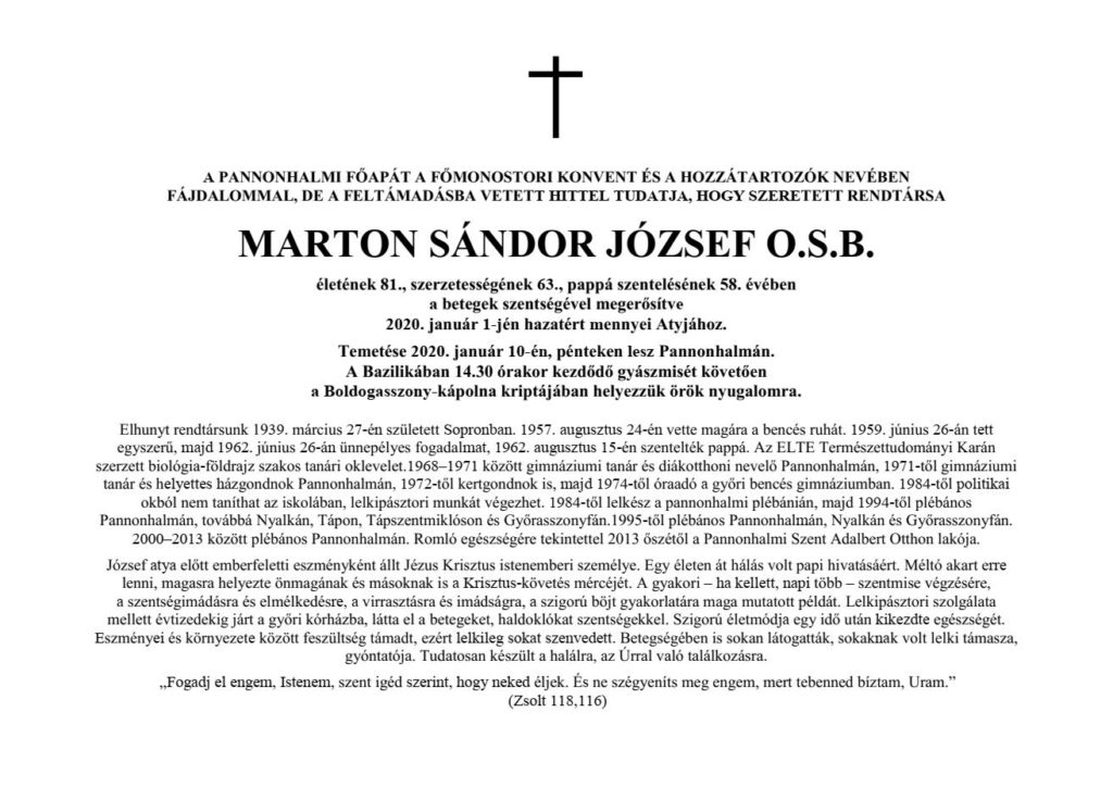 Marton József OSB gyászjelentése