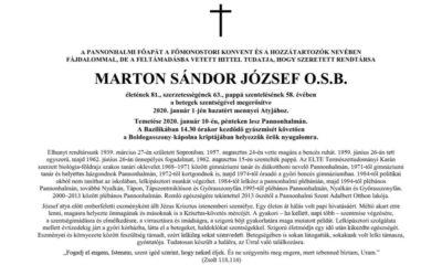 RIP – Marton József OSB