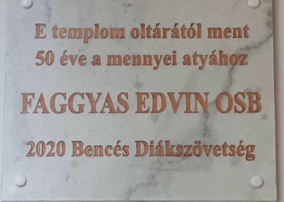 Faggyas Edvin emléktábla szentelés
