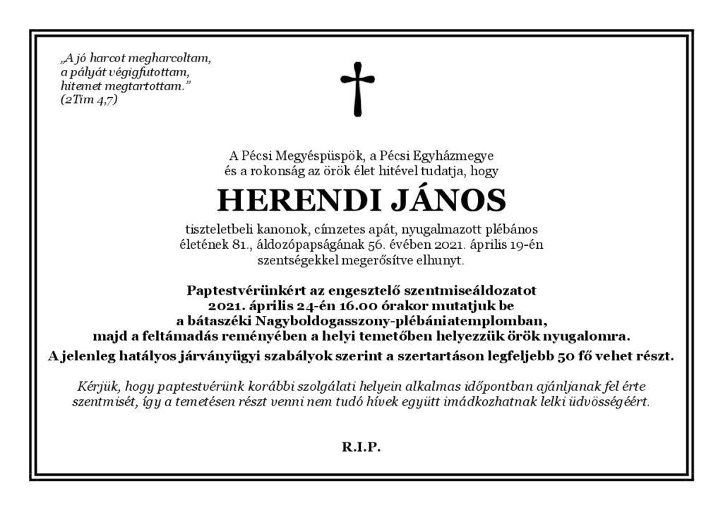 Herendi János atya gyászjelentés