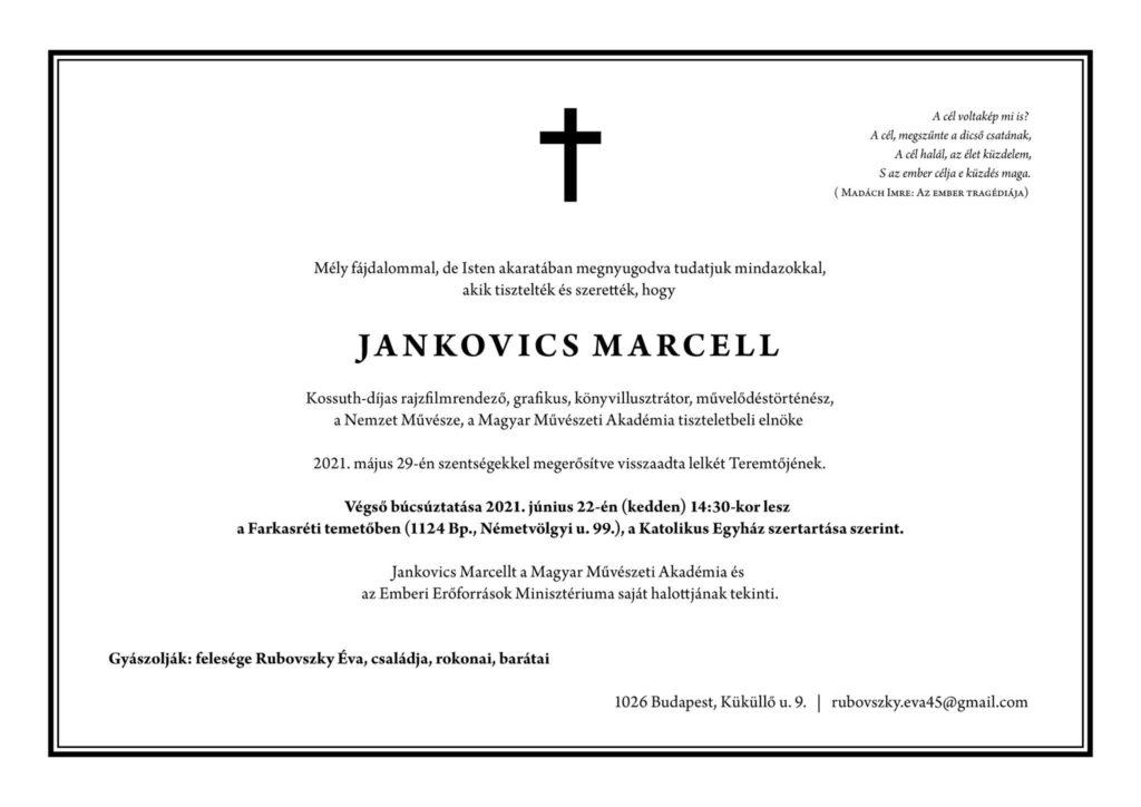 Jankovics Marcell gyászjelentés